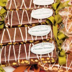 Barra cioccolato torronato fondente e pistacchi