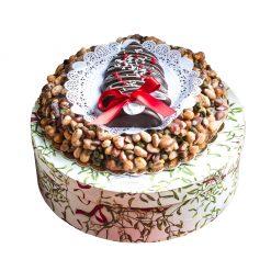 Croccante con albero di pasta reale ricoperto di cioccolato fondente