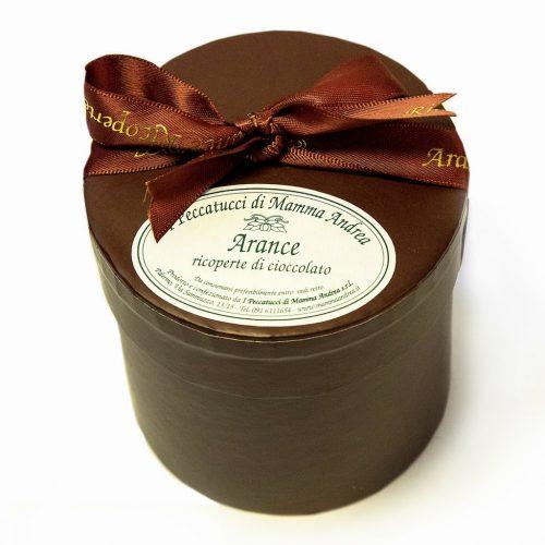 Fette arancia ricoperte di cioccolato fondente - cofanetto marrone